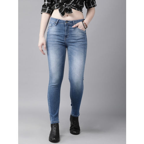 Roadster Women Blue Skinny Fit Bleached Design Mid-Rise Clean Look Stretchable Jeans