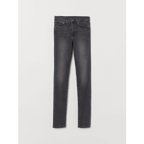 H&M Women Grey Solid Shaping Skinny Regular Jeans