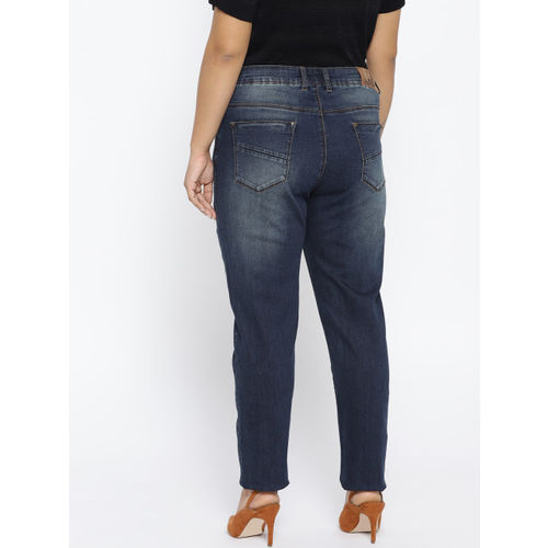 aLL Women Navy Blue Washed Regular Fit Mid-Rise Clean Look Stretchable Jeans