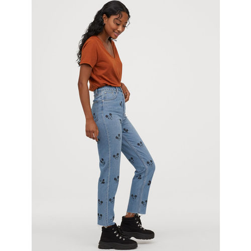 H&M Women Blue Printed Mom High Ankle Jeans