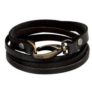 The jewelbox Black Leather Wrist Band