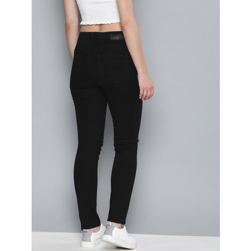 HERE&NOW Women Black Skinny Fit High-Rise Slash Knee Stretchable Jeans