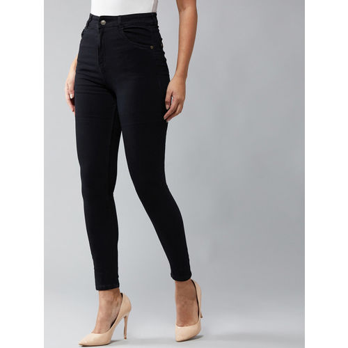 DOLCE CRUDO Women Black Skinny Fit High-Rise Clean Look Stretchable Jeans