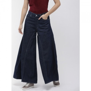 Levis Women Blue Flared High-Rise Clean Look Made and Crafted Rancher Wide Leg Jeans