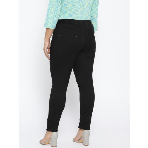 aLL Women Black Solid Slim Fit Mid-Rise Clean Look Jeans