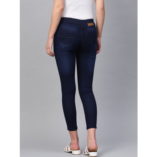 Purple Feather Women Navy Blue Skinny Fit High-Rise Clean Look Stretchable Cropped Jeans