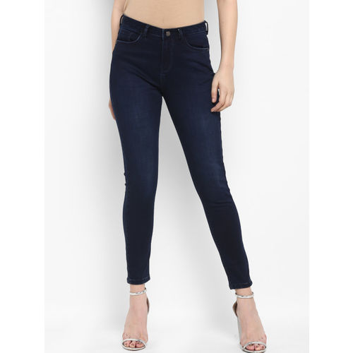 FOSH Women Navy Blue Slim Fit Mid-Rise Clean Look Stretchable Jeans