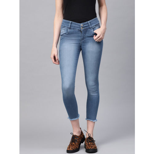 Purple Feather Women Blue Skinny Fit High-Rise Clean Look Stretchable Cropped Jeans