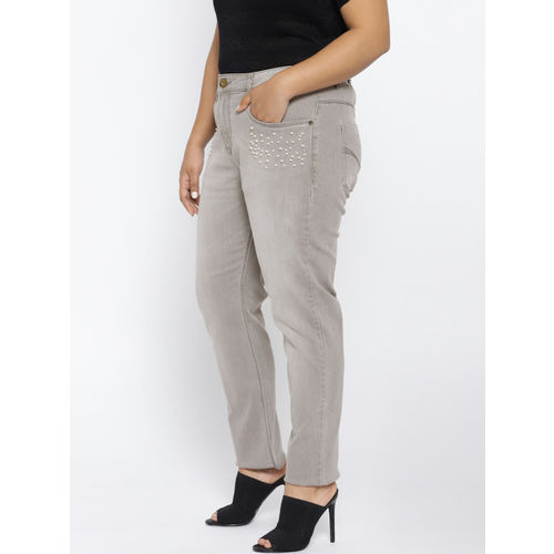 aLL Women Grey Washed Regular Fit Mid-Rise Clean Look Stretchable Jeans