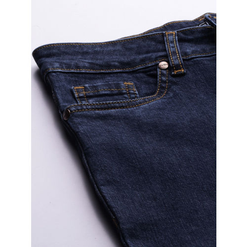 NUSH Women Blue Bootcut Mid-Rise Clean Look Stretchable Jeans
