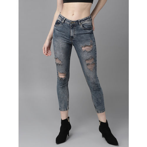 Roadster Women Navy Blue Skinny Fit Mid-Rise Highly Distressed Stretchable Cropped Jeans