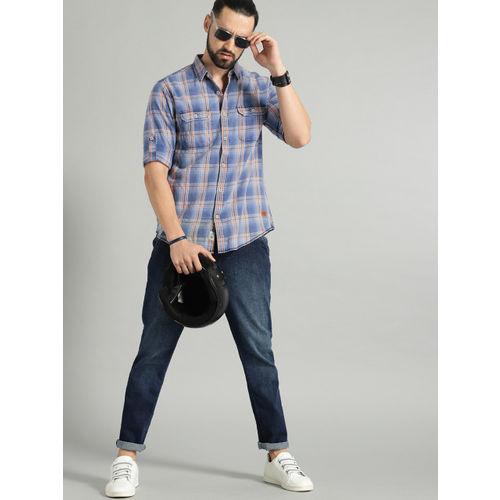 Roadster Men Blue & Brown Regular Fit Checked Casual Shirt