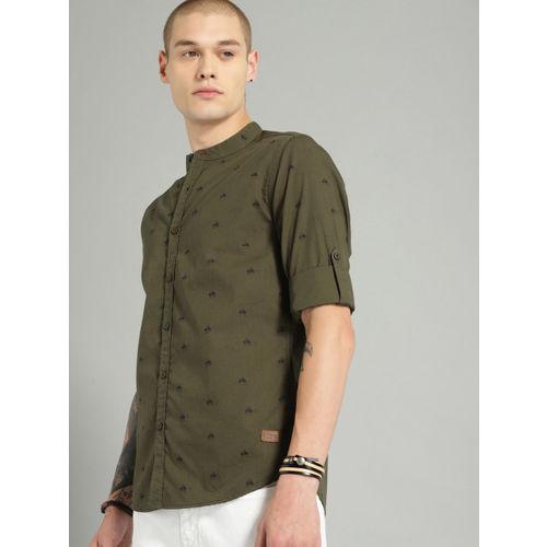 Roadster Men Olive Green & Navy Blue Regular Fit Printed Casual Shirt
