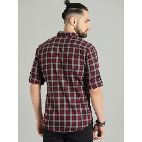 Roadster Men Red & Grey Checked Casual Shirt