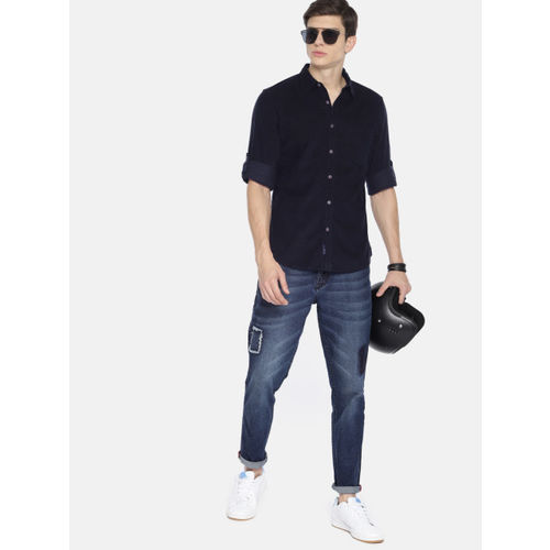 Roadster Men Navy Blue Regular Fit Solid Casual Shirt