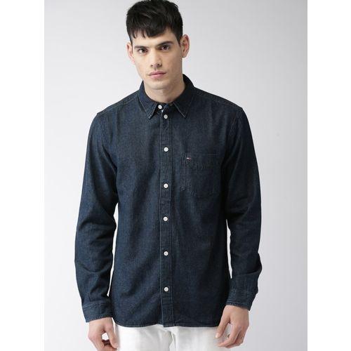 Tommy Hilfiger Men Washed Casual Dark Blue Shirt