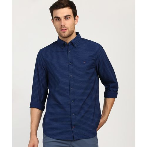 Tommy Hilfiger Men Striped Casual Dark Blue Shirt