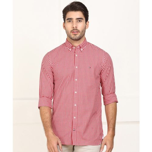 Tommy Hilfiger Men Checkered Casual Red, White Shirt