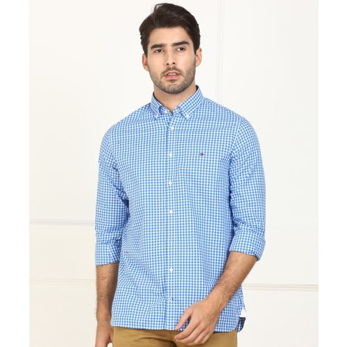 Tommy Hilfiger Men Checkered Casual White, Blue Shirt