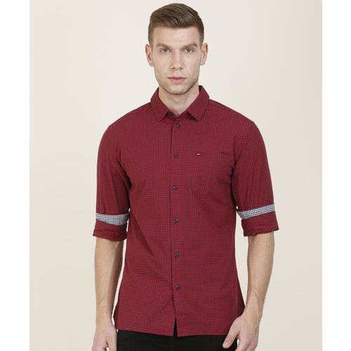 Tommy Hilfiger Men Checkered Casual Red, Blue Shirt