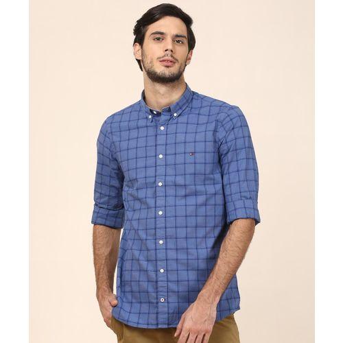 Tommy Hilfiger Men Checkered Casual Blue Shirt