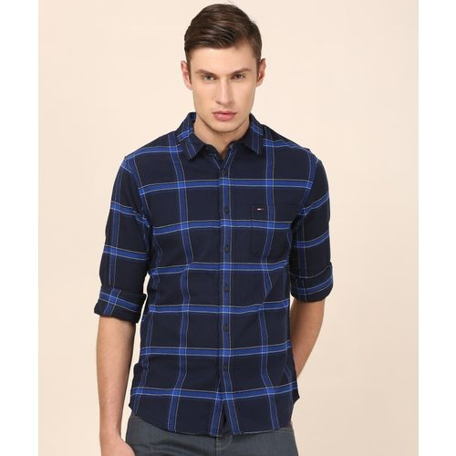 Tommy Hilfiger Men Checkered Casual Blue Shirt
