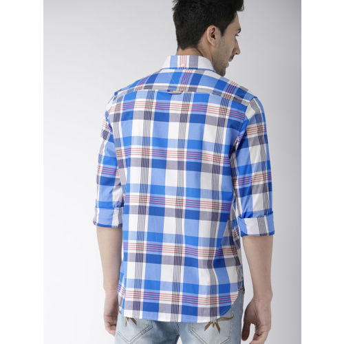 Tommy Hilfiger Men Blue & White Slim Fit Checked Casual Shirt