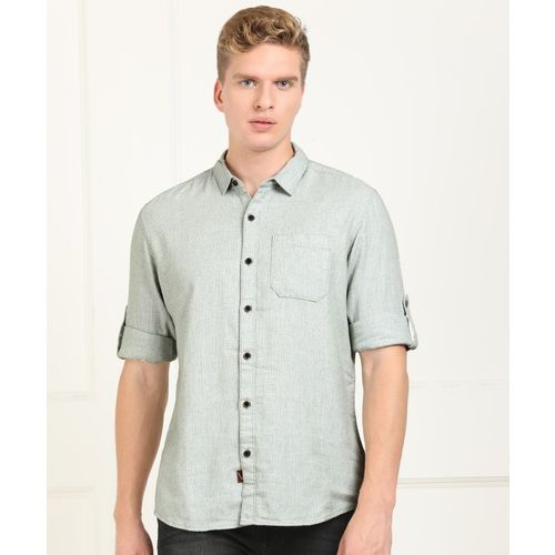 Wrangler Men Self Design Casual Light Green Shirt