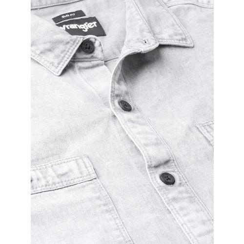 Wrangler Men Grey Slim Fit Denim Faded Casual Shirt