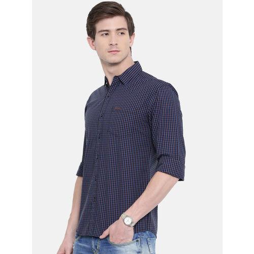 Wrangler Men Navy Blue & Black Slim Fit Checked Casual Shirt