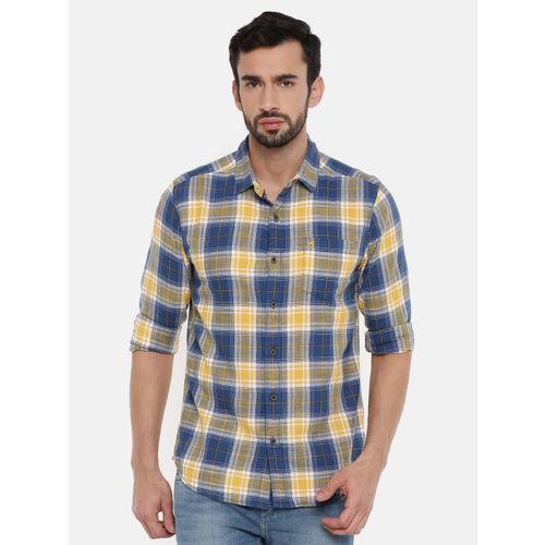 Wrangler Men Navy Blue & Mustard Yellow Twill Slim Fit Checked Casual Shirt