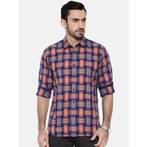 Wrangler Men Navy Blue & Orange Regular Fit Checked Casual Shirt