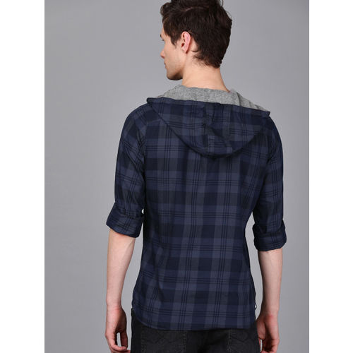 WROGN Men Navy Blue Checked Casual Hooded Shirt