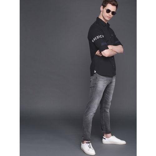 WROGN Men Black Slim Fit Solid Casual Shirt