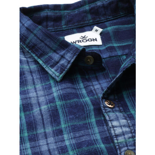 WROGN Men Navy Blue Slim Fit Checked Casual Shirt