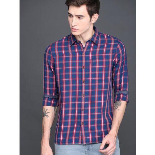 WROGN Men Checkered Casual Dark Blue Shirt