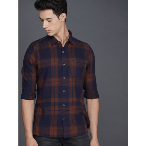 WROGN Men Brown & Navy Blue Slim Fit Checked Casual Shirt