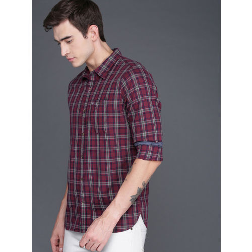 WROGN Men Maroon & White Slim Fit Checked Casual Shirt