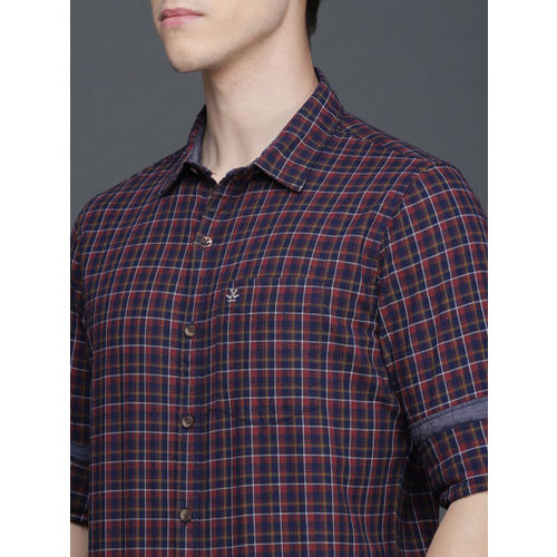 WROGN Men Rust & Navy Blue Slim Fit Checked Casual Shirt