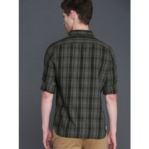 WROGN Men Charcoal Grey & Black Slim Fit Checked Casual Shirt