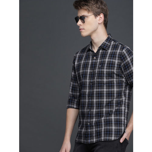 WROGN Men Grey & Black Slim Fit Checked Casual Shirt