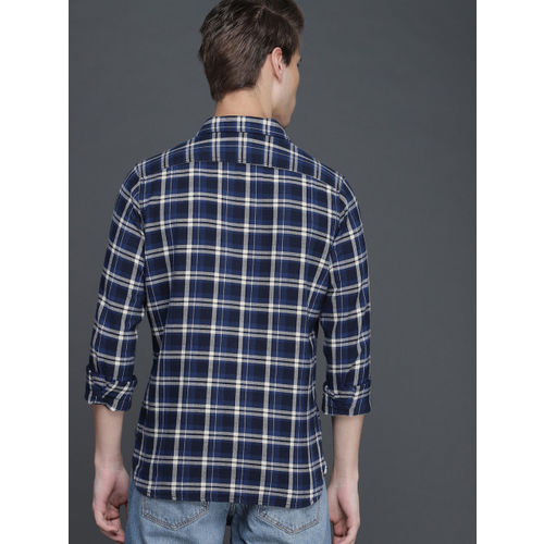 WROGN Men Blue & Grey Slim Fit Checked Casual Shirt