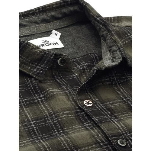 WROGN Men Olive Green & Black Slim Fit Checked Casual Shirt