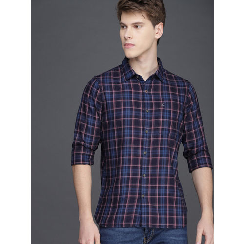 WROGN Men Navy Blue & Pink Slim Fit Checked Casual Shirt