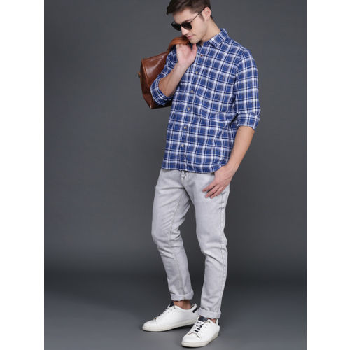 WROGN Men Blue & White Slim Fit Checked Casual Shirt