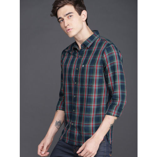 WROGN Men Teal & Red Checked Slim Fit Casual Shirt
