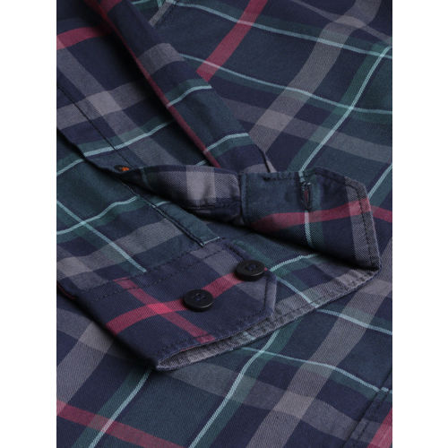 Mast & Harbour Men Navy Blue & Teal Green Regular Fit Checked Casual Shirt