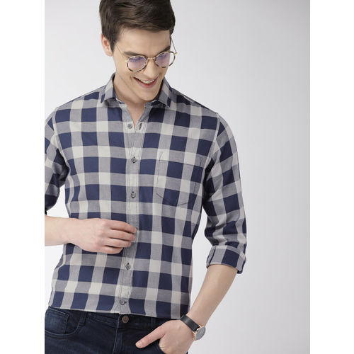 Mast & Harbour Men Navy Blue & Grey Regular Fit Checked Casual Shirt