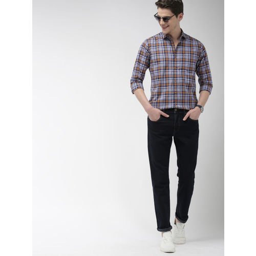 Mast & Harbour Men Navy Blue & Mustard Yellow Regular Fit Checked Casual Shirt