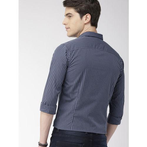 Mast & Harbour Men Navy Blue Regular Fit Striped Casual Shirt